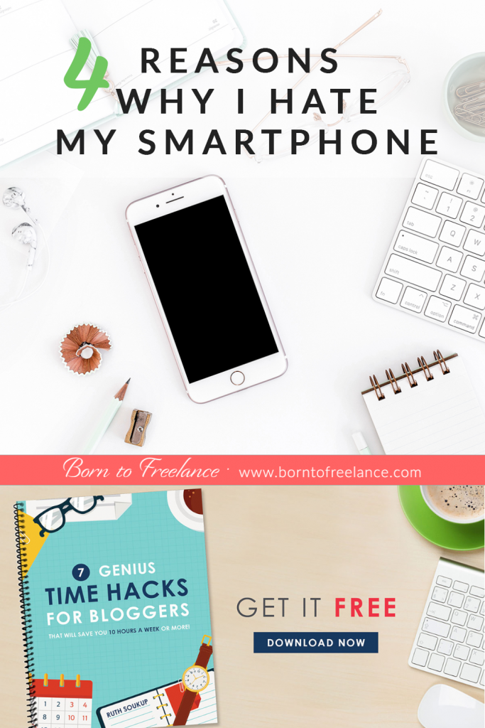 Messages, phone calls and notifications on your smartphone can let you waste your time. And that is the most important aspect of the solopreneur's life! Learn how to handle your smartphone so that you can focus and get the important stuff done. #focus #timemanagement #momboss #borntofreelance